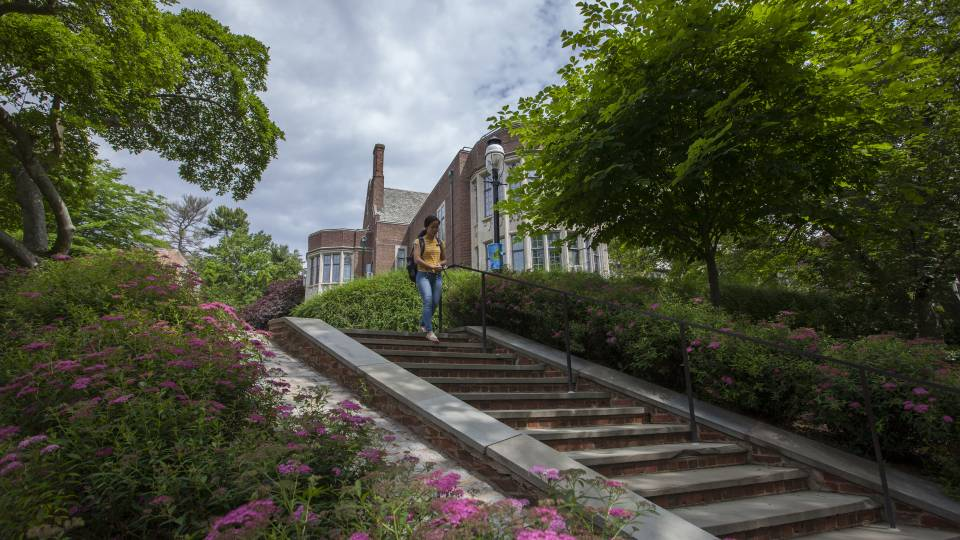 Student walking down stairs by McCosh