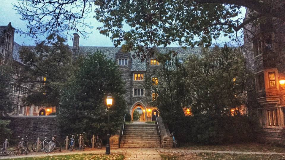 Pyne Hall dorm at night