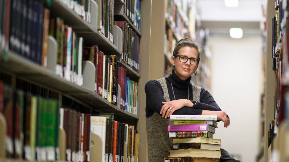 Kimberly Leaman in the stacks
