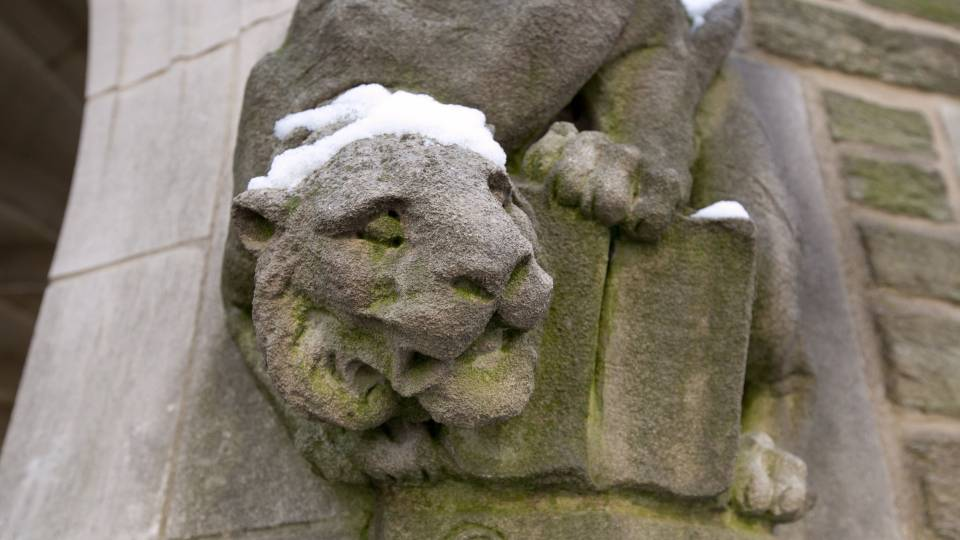 Tiger statue in snow