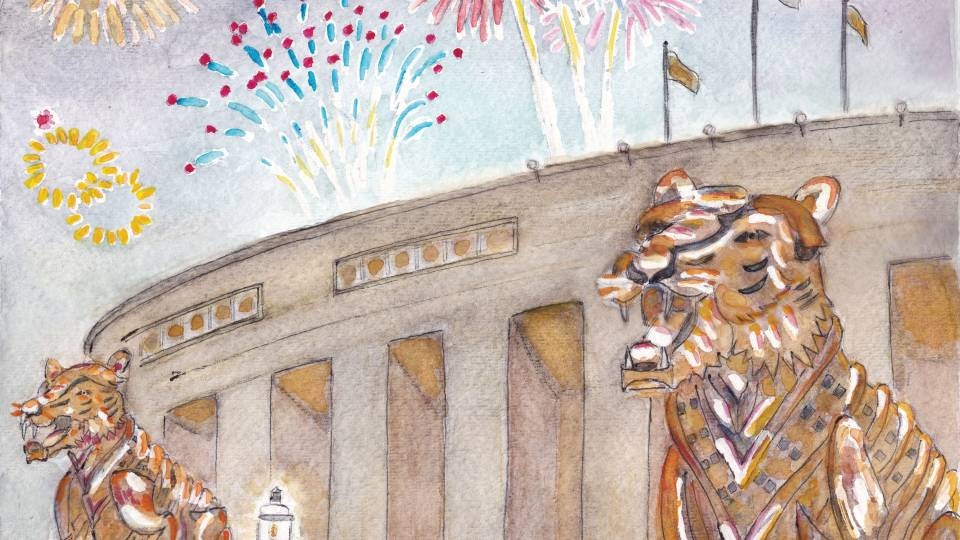 Watercolor of tigers outside Palmer Stadium with fireworks