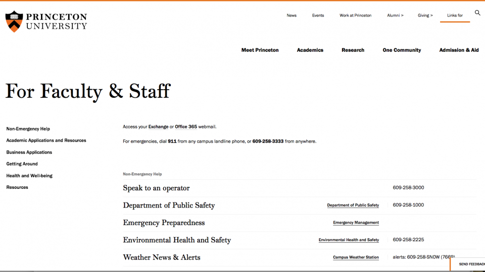 Screen shot of faculty and staff quick-links page on the new Princeton.edu design.