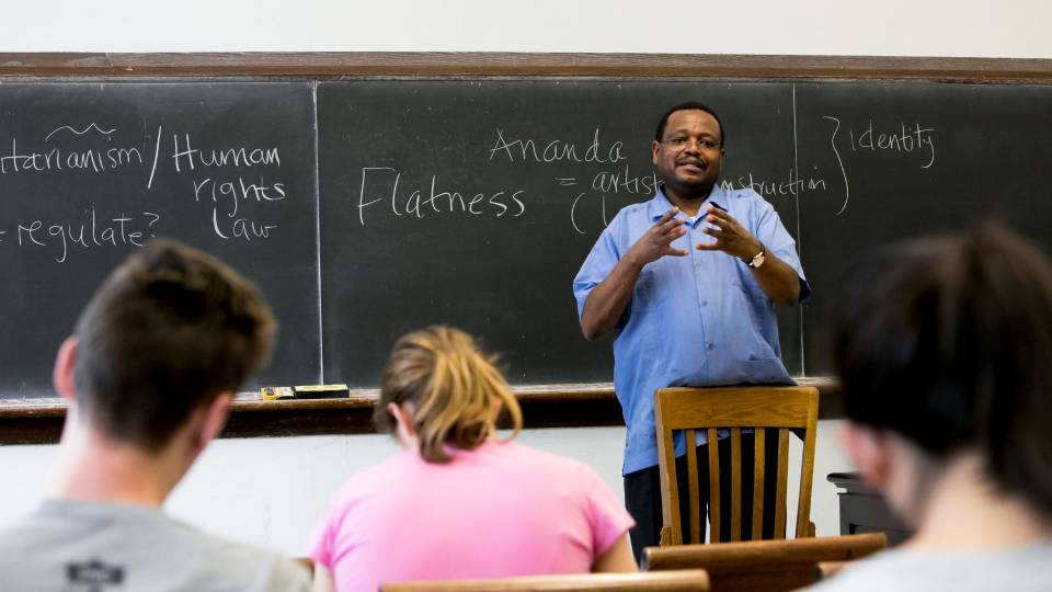 Professor Gikandi teaching class