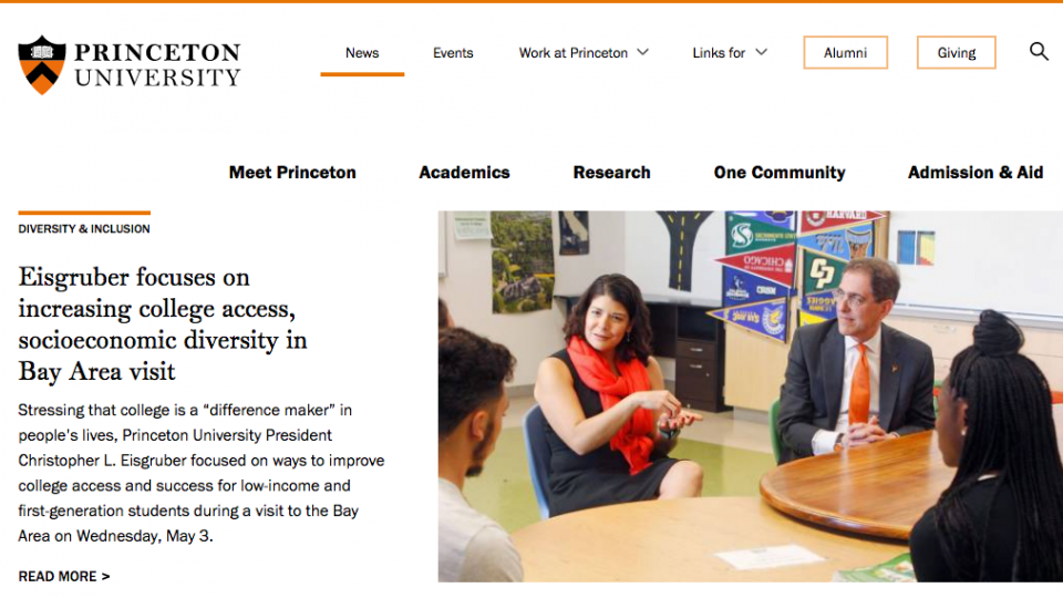 A screen shot of the new Princeton website redesign