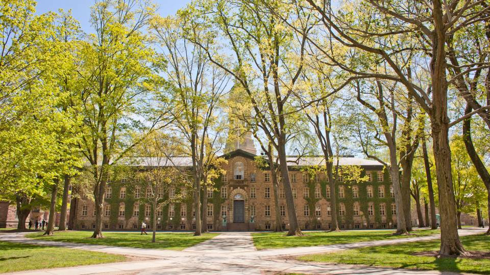 front of Nassau Hall in springtime