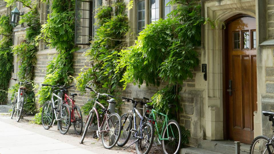 Bicycles outside of Campbell Hall