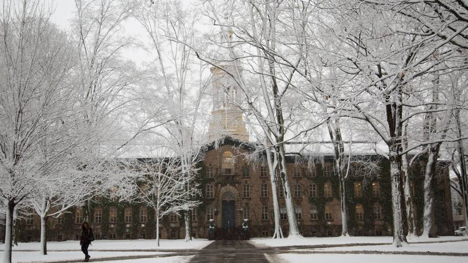 Nassau Hall in the winter