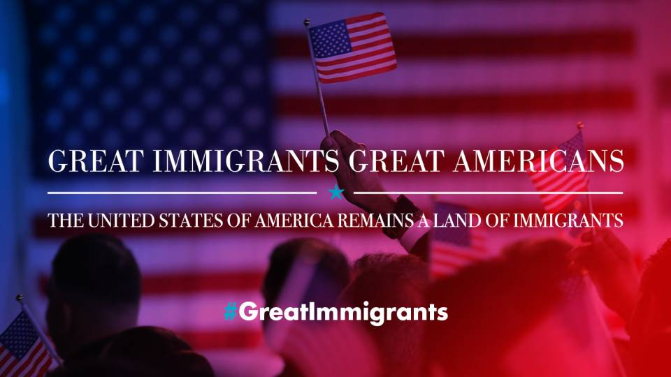"Image of American flag with text saying ""Great Immigrants, Great Americans"""