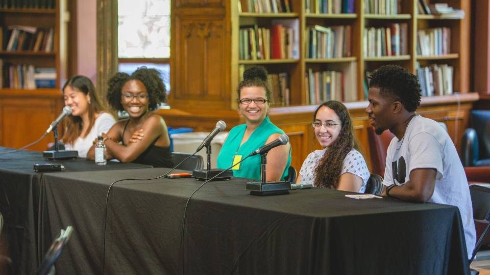 A panel of Princeton University undergraduate students discuss increasing college access for low-income students