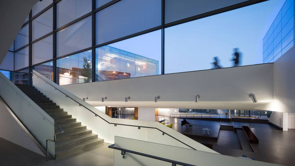 Interior stairwell of Lewis Arts complex
