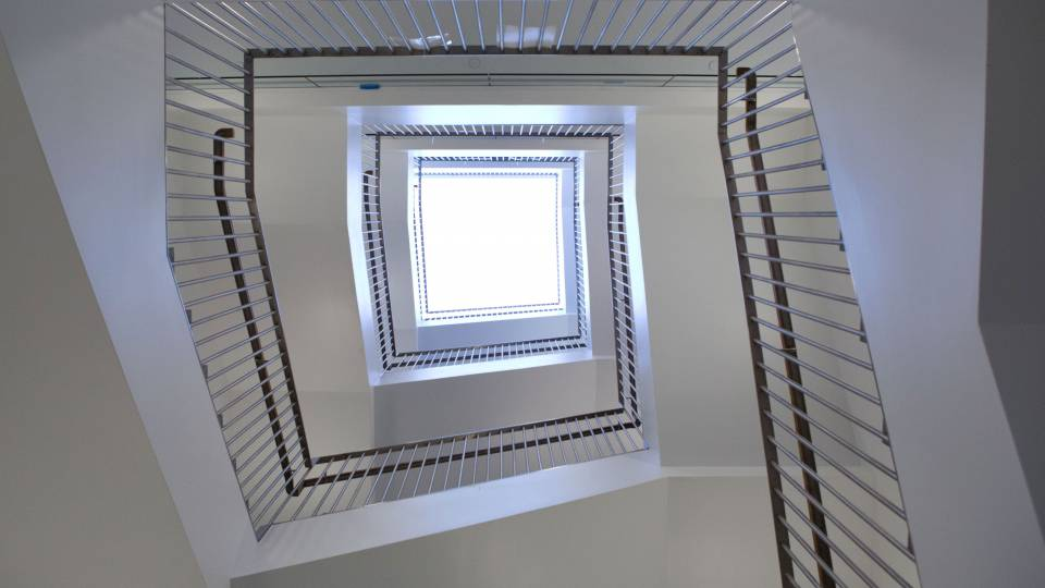 stairwell in neuroscience building
