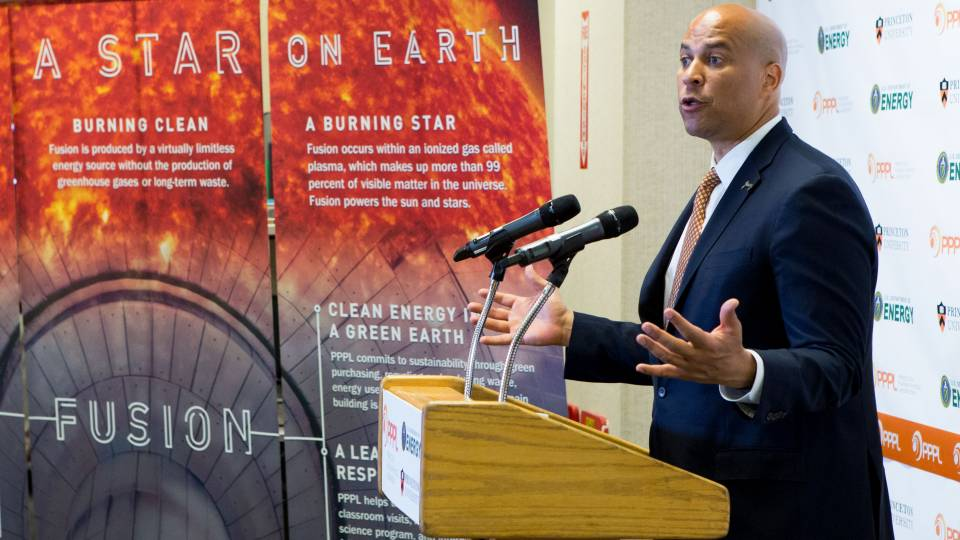 Cory Booker speaking at PPPL
