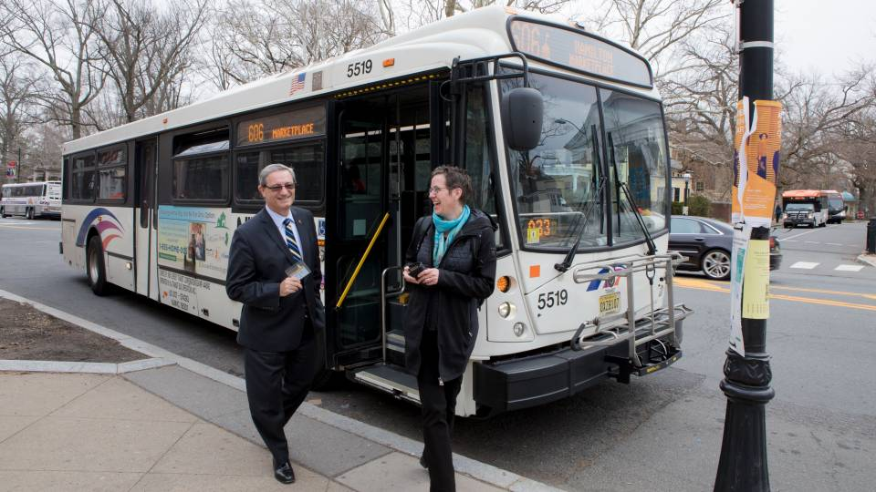 Dan Day and Andrea Graham ride the NJ Transit 606 bus to campus