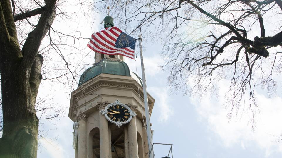 Flag flying over Nassau Hall