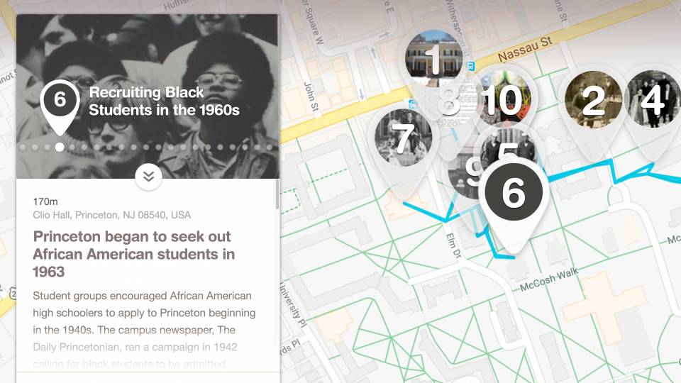 Screenshot of the African American history tour website showing stop number 6 at Clio Hall: Recruiting Black Students in the 1960s