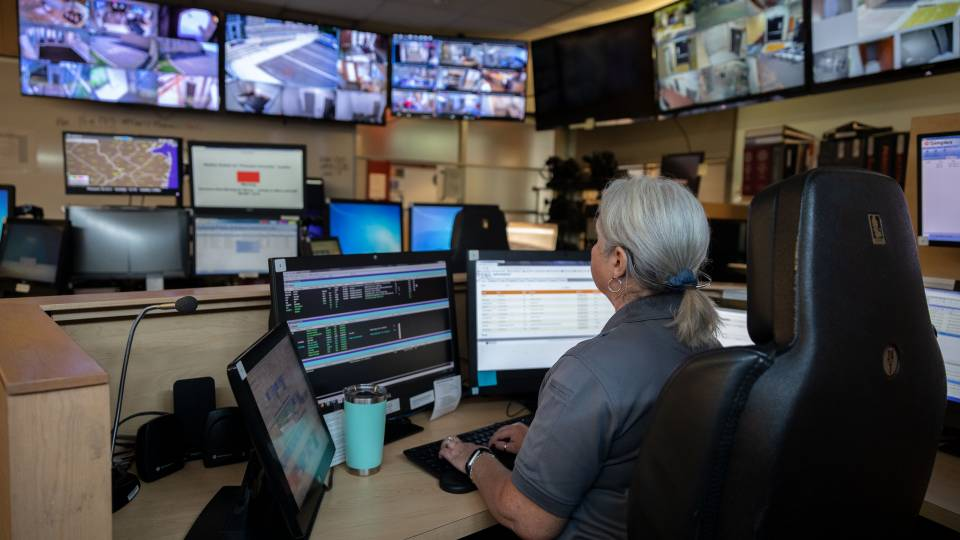 Dispatcher Terri Vandegrift monitors emergency calls and campus security operations