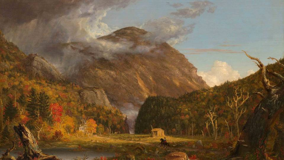 "Thomas Cole painting ""A View of the Mountain Pass Called the Notch of the White Mountains (Crawford Notch),"""