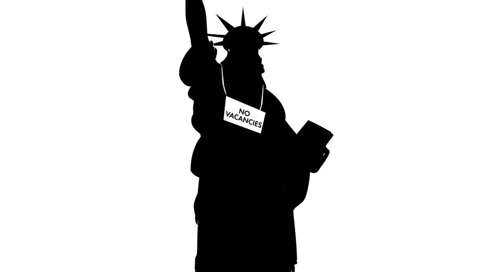"Silhouette of the statue of liberty with a sign around its neck reading ""No Vacancies"""