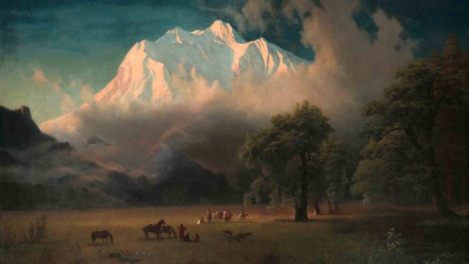 "Albert Bierstadt oil painting ""Mount Adams, Washington"""