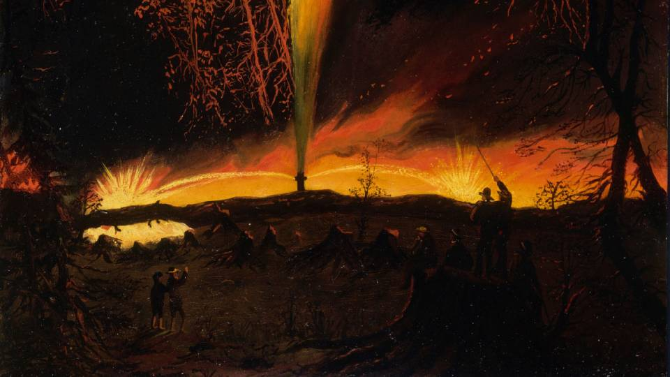 "Part of ""Burning Oil Well at Night, Near Rouseville, Pennsylvania' painting by James Hamilton"