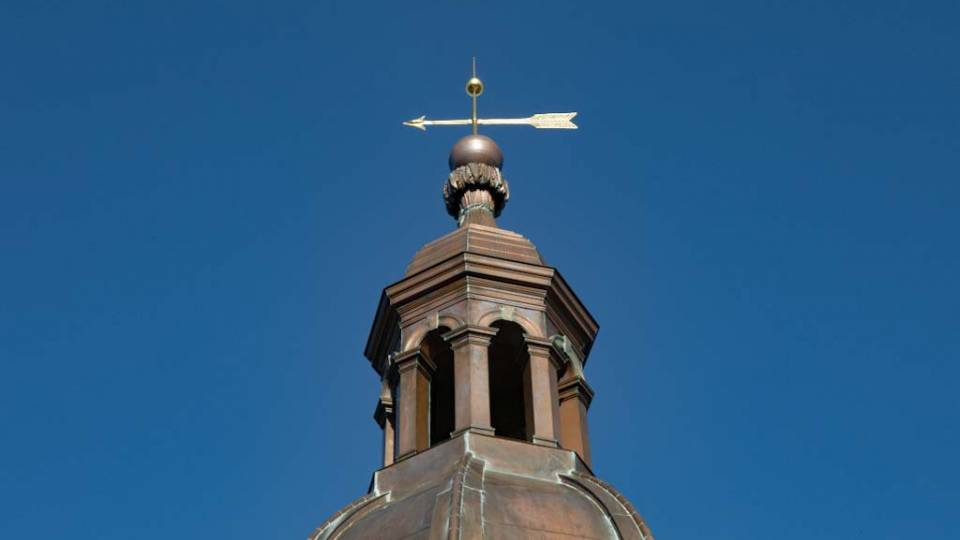 Nassau Hall cupola and weather vane