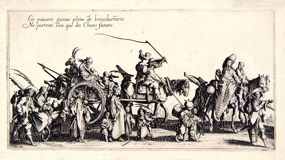 Etching of 17th century caravan of men, women, and children on foot, horseback, and wagon