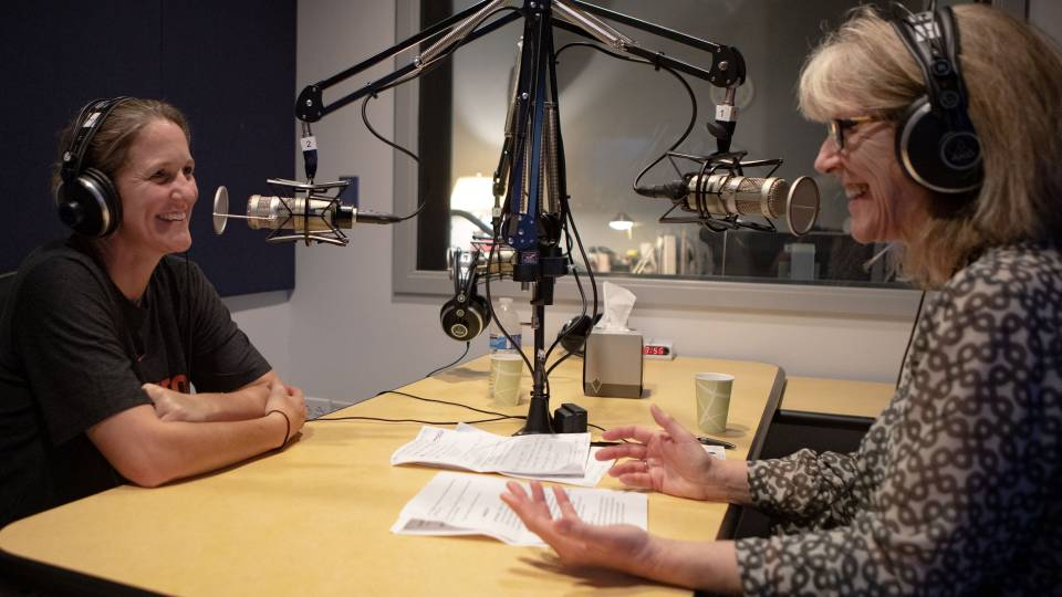 Courtney Banghart and Margaret Koval recording podcast