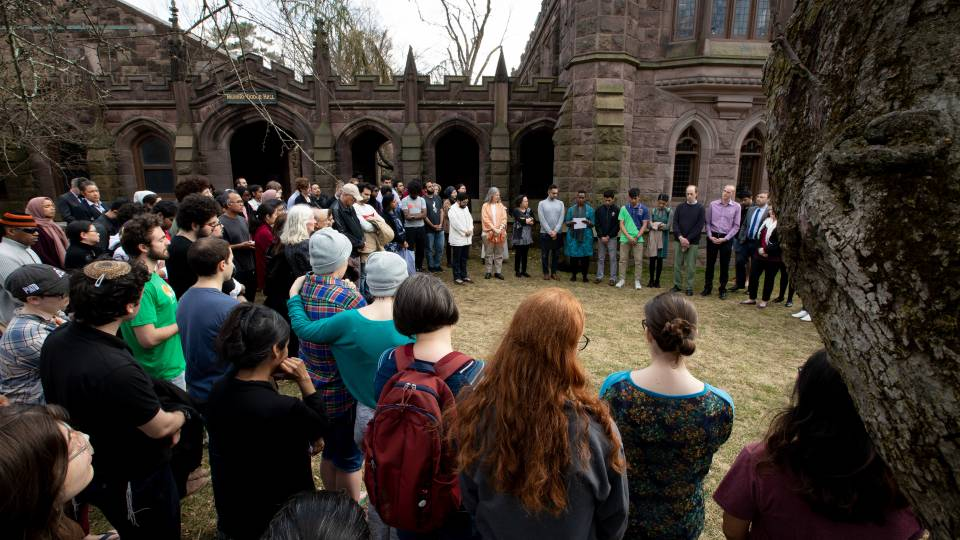 Members of the University community gather for solace after the New Zealand Mosque shootings