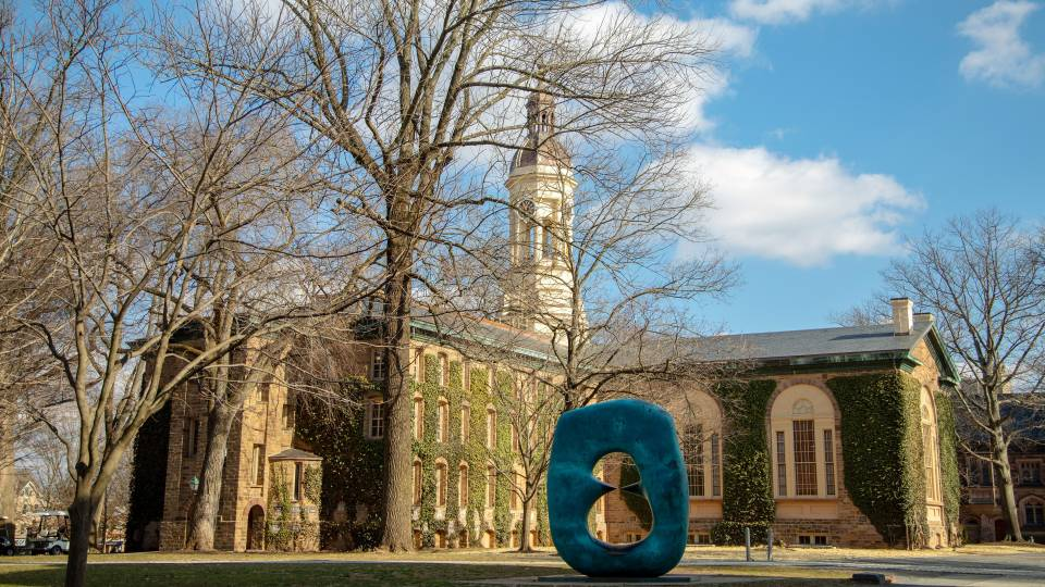 "Nassau Hall and sculpture ""Oval with Points"""
