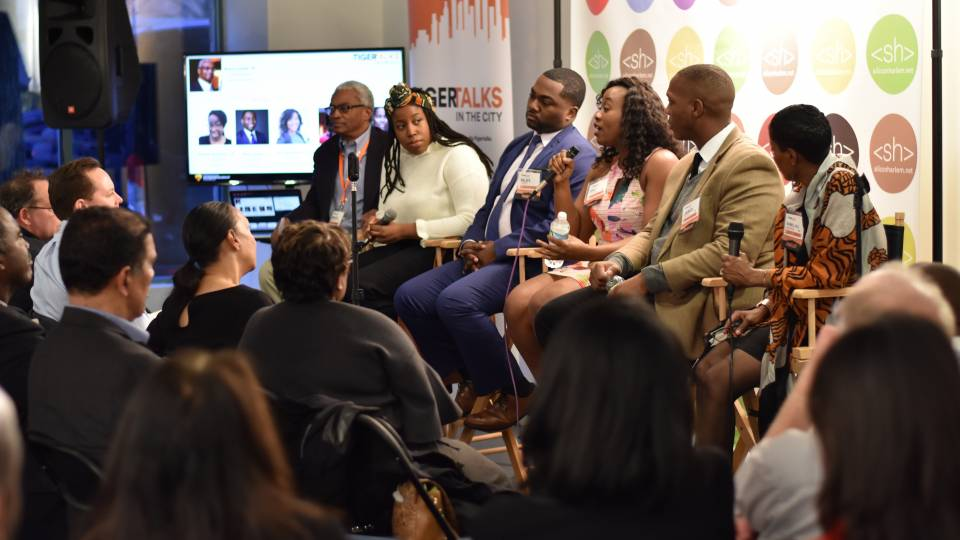 Entrepreneurs speak on a panel about their experiences