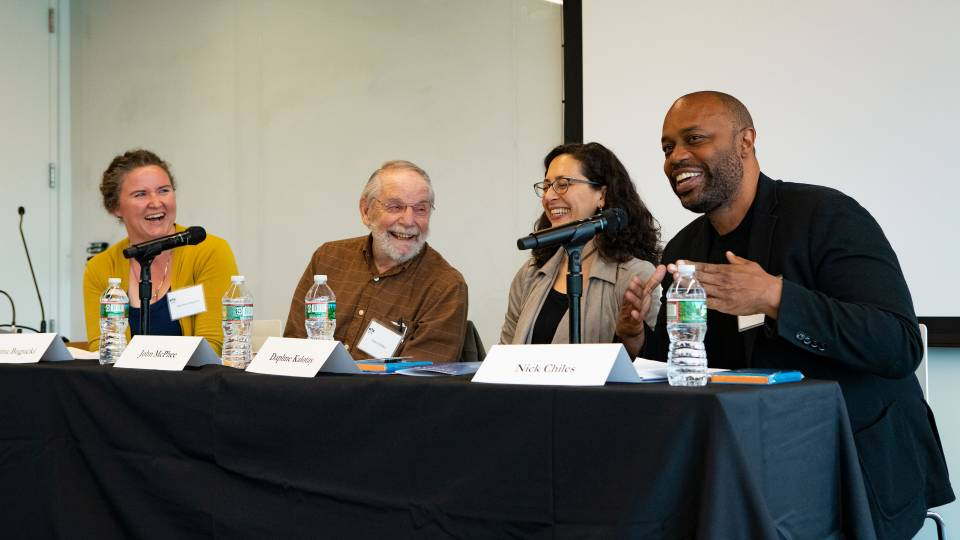 4 writers speak on a panel