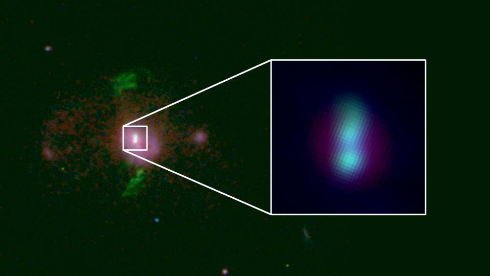 Image showing two supermassive black holes