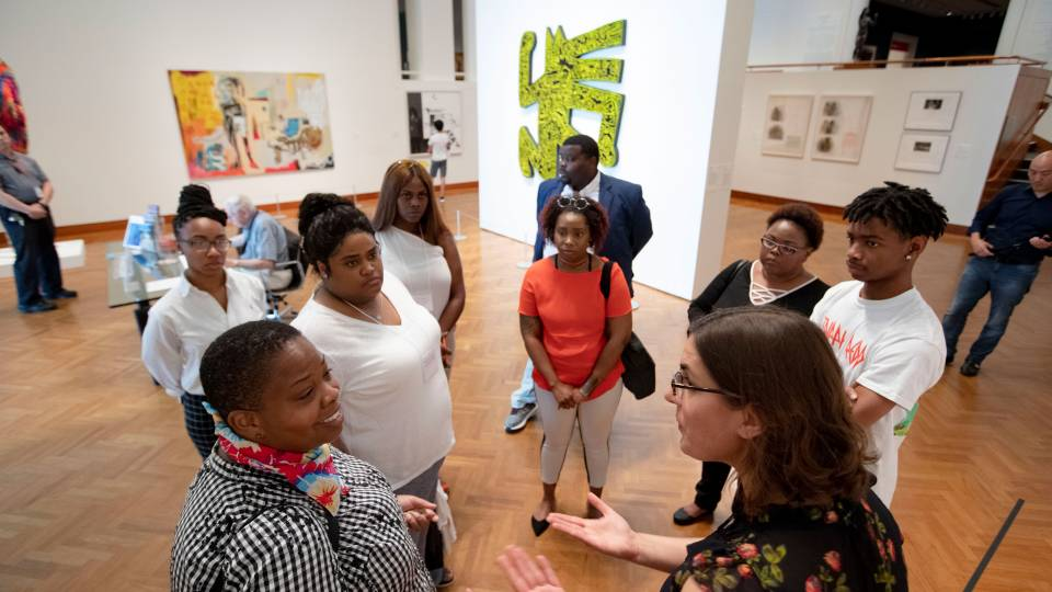 Mitra Abbaspour speaks to members of HBCUs on tour of the art museum