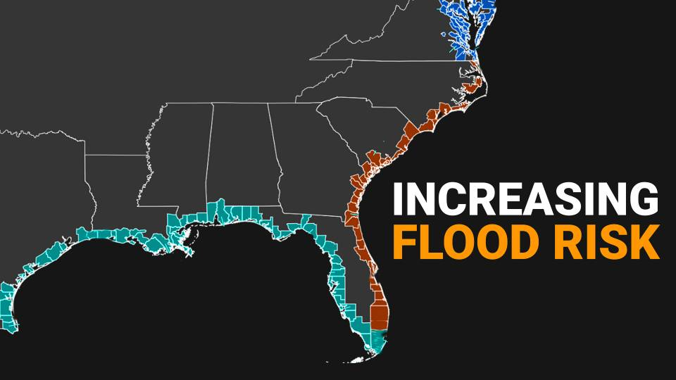 increased flood risk map with ocean-facing counties highlighted