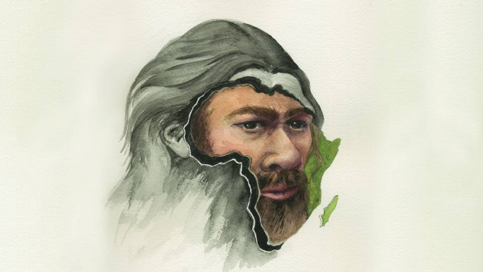 face of a neanderthal man in an outline of the African continent