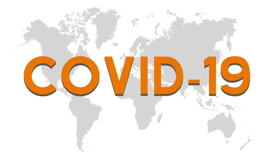 "Words ""COVID-19"" and map of world"