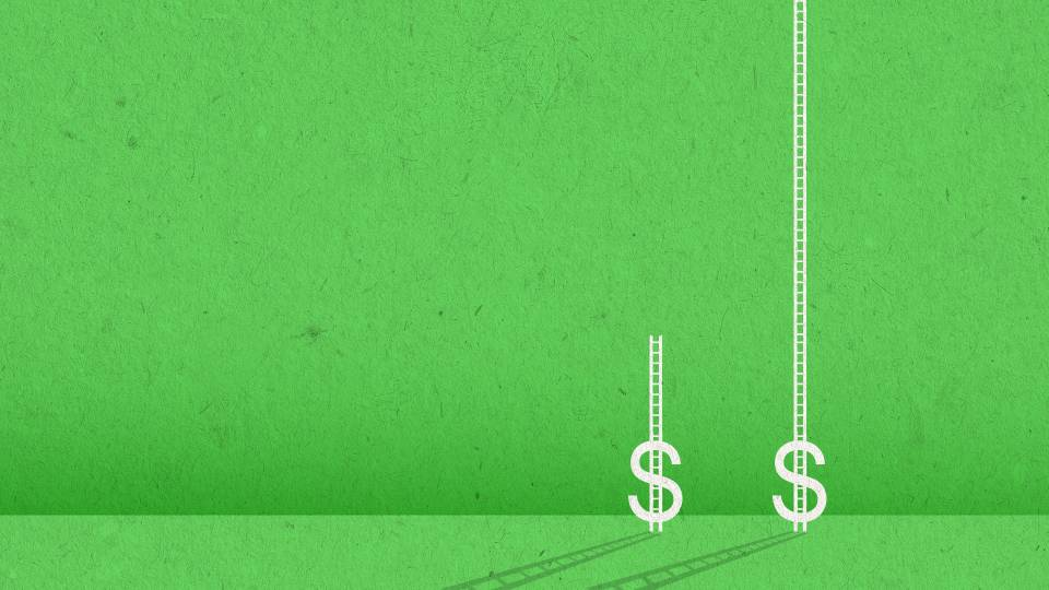2 dollar signs on a green background with unequal ladders