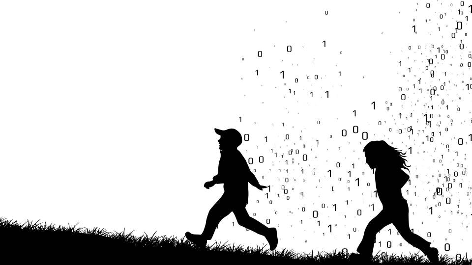 silhoutte of children against backdrop of binary code