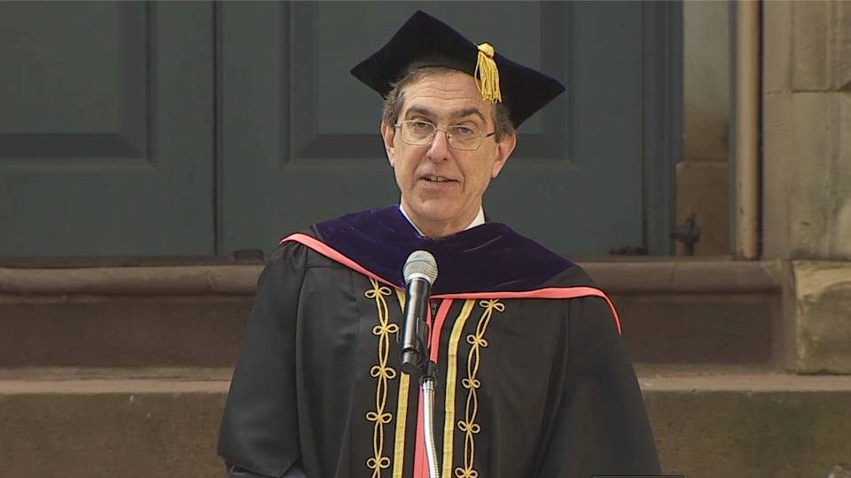 Christopher Eisgruber in commencement regalia