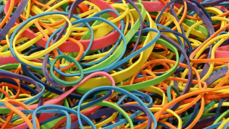 Pile of colorful rubbber bands