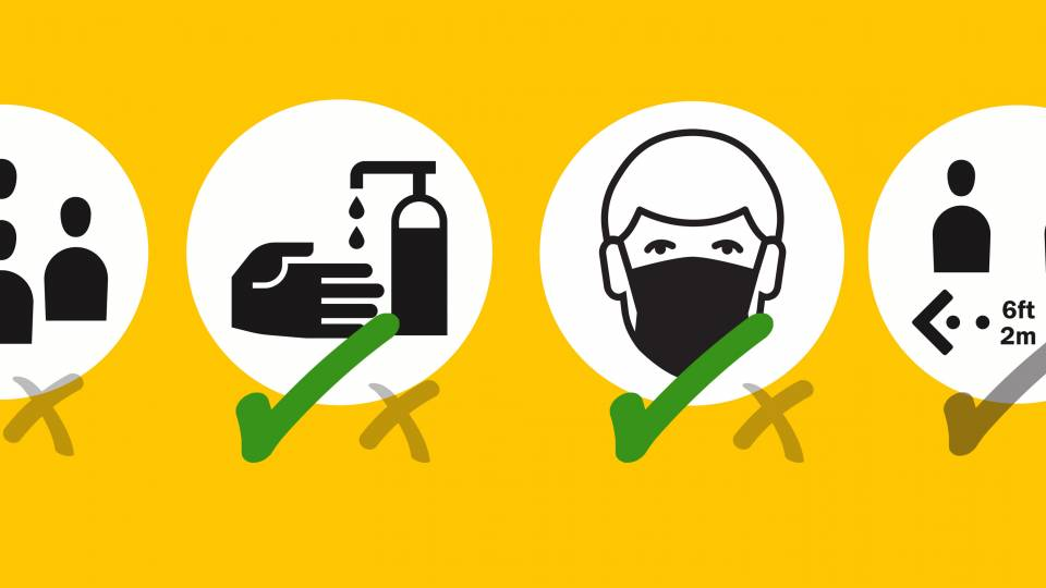 icons for room capacity, hand sanitizer use, mask-wearing, social distancing with check marks and xs