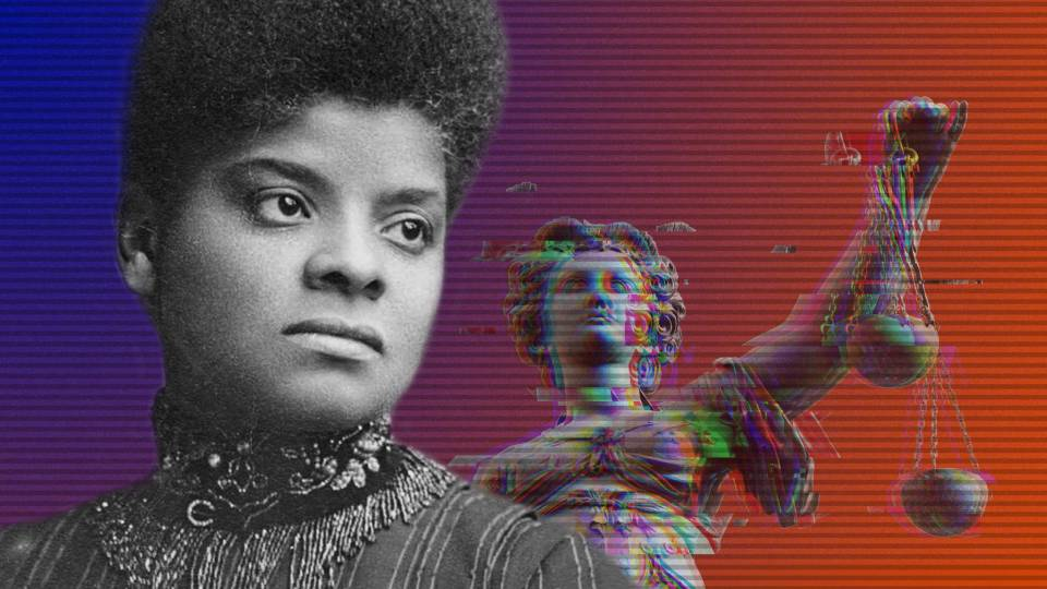 Ida B. Wells looks into the distance while classical Justice looks over her shoulder, holding her scales