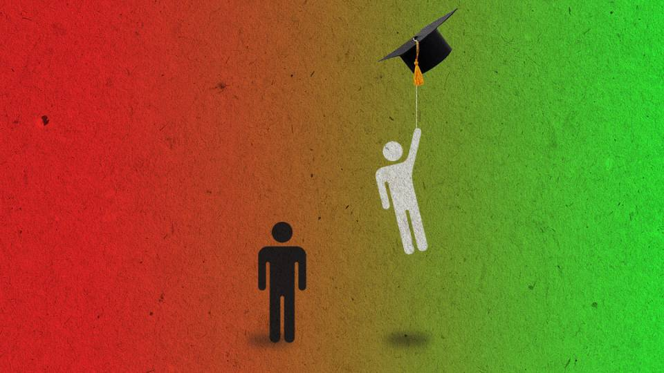 one stick figure is carried upwards by a mortarboard, leaving the other on the ground
