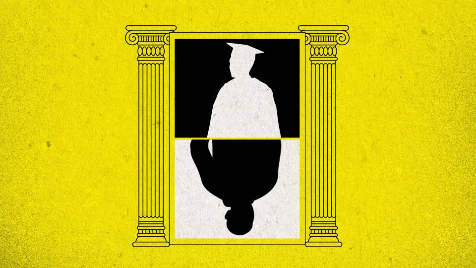 Illustration of silhouette of a graduate mirrored, flanked by Ionic columns