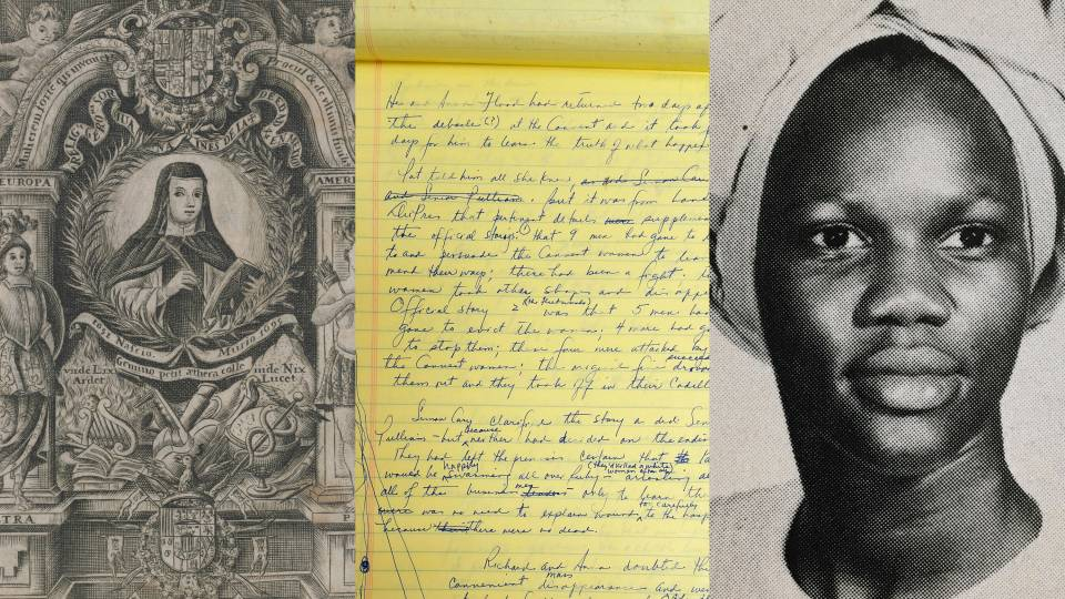 Sor Ines book illustration, Toni Morrison handwritten notes, portrait of a woman wearing a turban