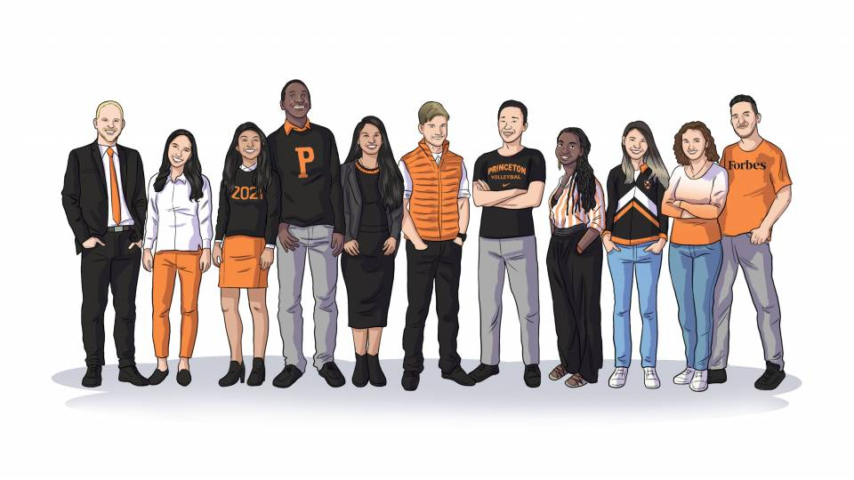 a row of illustrated students awarded the Spirit of Princeton Prize
