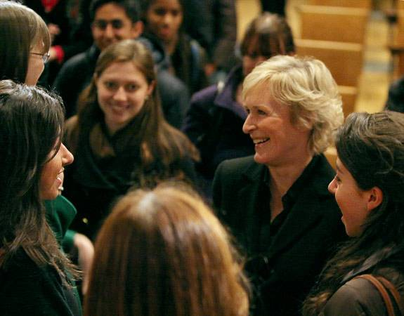 Glenn Close with students
