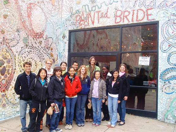 Students at the painted bride