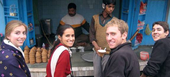 Students at a street vendor