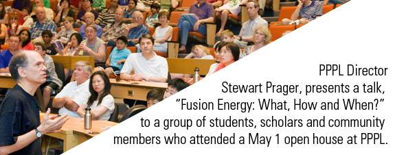 "PPPL Director Stewart Prager, presents a talk,  ""Fusion Energy: What, How and When?""  to a group of students, scholars and community  members who attended a May 1 open house at PPPL."